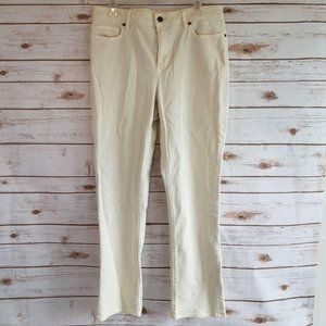 Lands End Jeans Mid Rise Straight Leg Off White